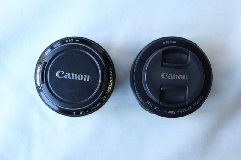 canon50mm f1.8(旧)とcanon 50mm f1.8 STM(新)のキャップのつまみ